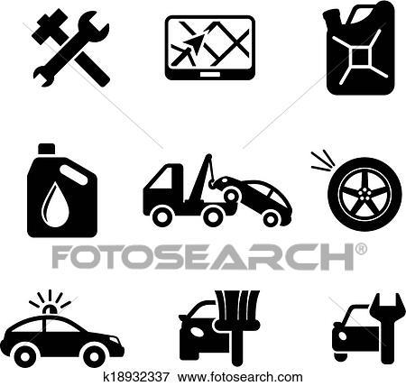 Clipart ensemble ofcar service et automobile ic nes k18932337 recherchez des cliparts - Coloriage car wash ...