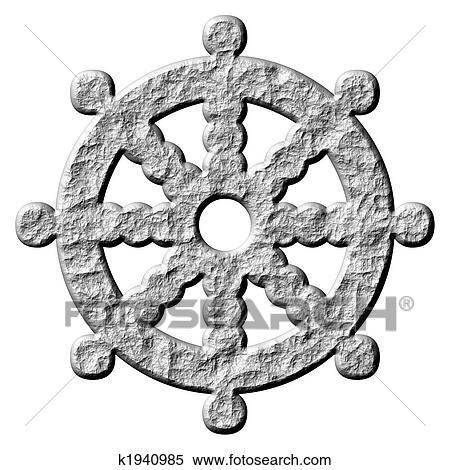 stock illustration 3d stein buddhismus symbol rad von dharma k1940985 suche clipart. Black Bedroom Furniture Sets. Home Design Ideas