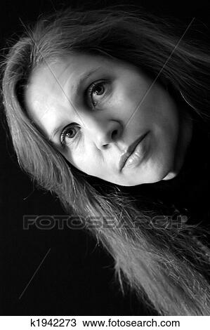 Stock Photo - portrait of pretty female with long hair in black and white big eyes  sc 1 st  Fotosearch & Stock Photo of portrait of pretty female with long hair in black ... azcodes.com