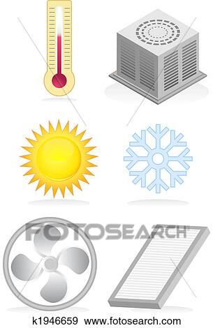 Stock illustration of air conditioner icons k1946659 for Air conditionn mural