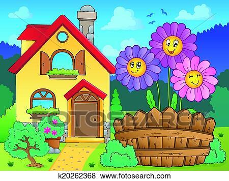 剪贴画 - 房子, 同时,, 花, (2图片