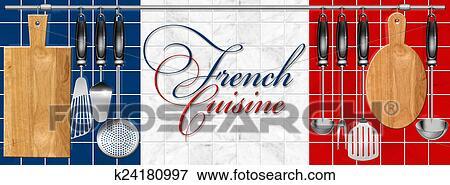 Stock Illustration - französische küche, satz, küchenutensilien ... | {Französische küche clipart 11}