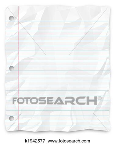 Stock Illustration   Student Writing Paper   Lined And Three Hole Punched.  Fotosearch    Paper Lined
