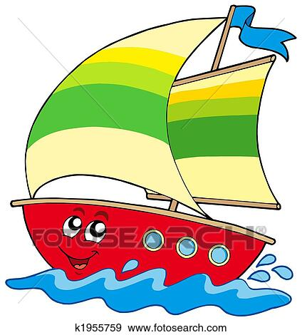 Cartoon sailboat  Yacht Clipart