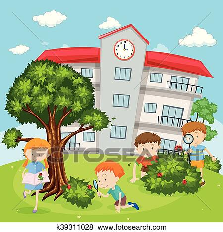 clip art children playing in school yard fotosearch search clipart illustration posters - Images Of Children Playing At School
