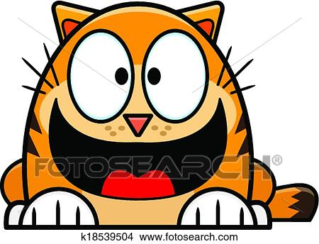 clipart of happy looking orange cartoon cat k18539504 search clip rh fotosearch com orange tabby cat clipart