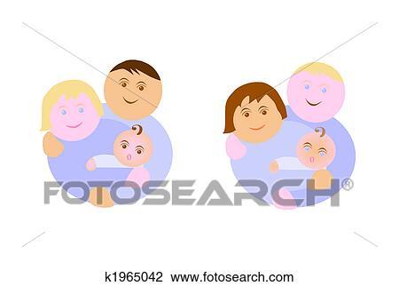 剪贴画 不同, 少数民族, 家庭