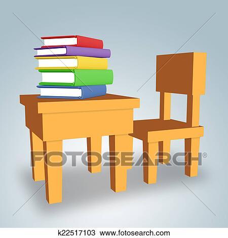 手绘图 - 桌子, 带, 书