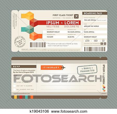 Clip Art of Modern Boarding Pass Wedding Invitation design ...