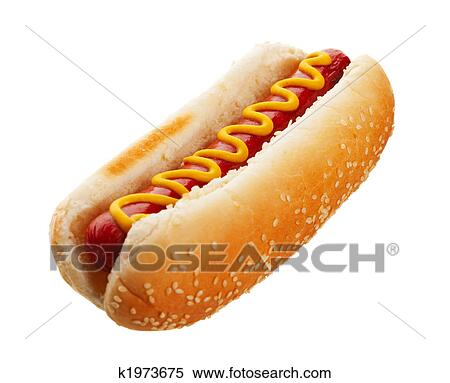 stock image of hot dog with mustard k1973675 search stock photos mural pictures photographs. Black Bedroom Furniture Sets. Home Design Ideas
