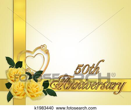 Stock Illustrations of Wedding Anniversary yellow roses 50th ...