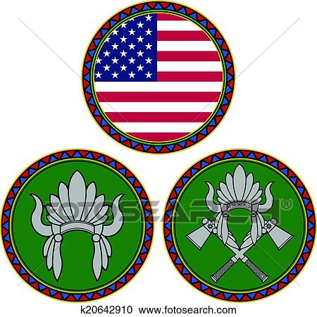 clipart of american flag and indian headdress k20642910 search rh fotosearch com indian chief headdress clipart indian headdress clip art free
