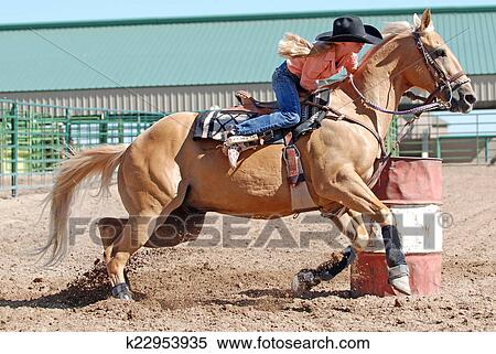 Stock Image Of Young Blonde Barrel Racer K22953935