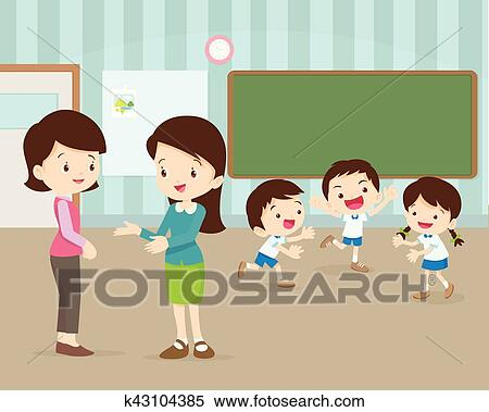 Clipart of mother talking young teacher k43104385 - Search ...