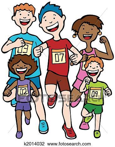 剪贴画 - 马拉松, 孩子, 比赛图片