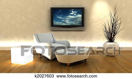 Archivio fotografico 3d render di divano e tv for Mobilia arredamento 3d