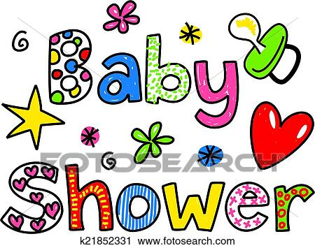 clipart of baby shower cartoon text clipart k21852331 search clip rh fotosearch com clip art baby shower invitations clip art baby shower girl