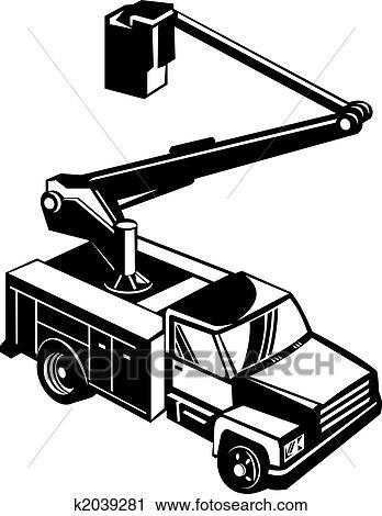 Clipart Of Black Bucket Truck K2039281