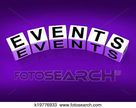 Stock Photo - Events Blocks Represent Functions Experiences and Occurrences.  Fotosearch - Search Stock Images