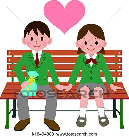 clip art of happy student couple k18494808 search clipart rh fotosearch com  happy classroom clipart
