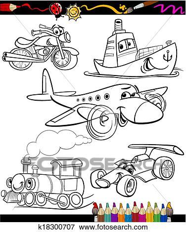 Clip Art Of Transport Set For Coloring Book K18300707