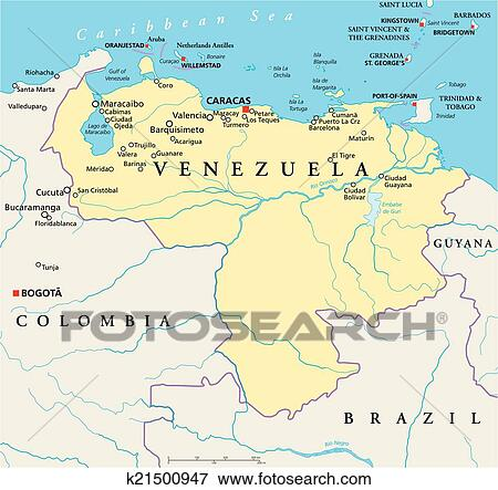 Clip Art of Venezuela Political Map k21500947 Search Clipart