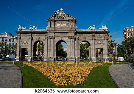 Stock Image of Alcala Door (Puerta de Alcala) in Independence Square. Madrid,...