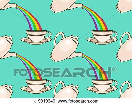 Clip Art Of Rainbow Tea Pattern K19019349 Search Clipart