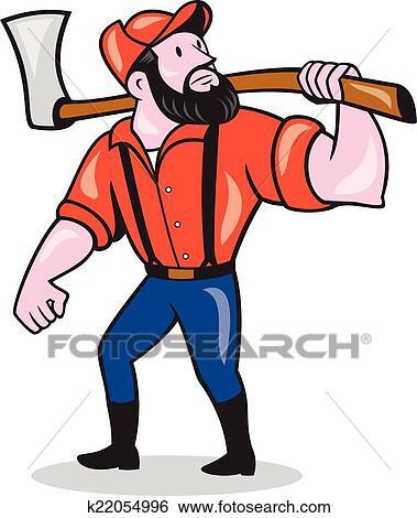 clip art of lumberjack holding axe cartoon k22054996 search rh fotosearch com lumberjack beard clipart cute lumberjack clipart
