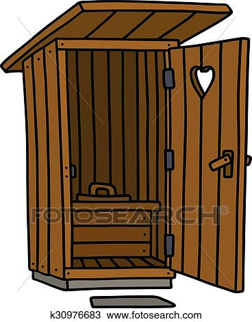 Clipart Of Old Wooden Closet K30976683