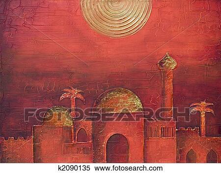 Banque d 39 illustrations peinture de oriental ville k2090135 recherche de cliparts de for Dessin ville orientale