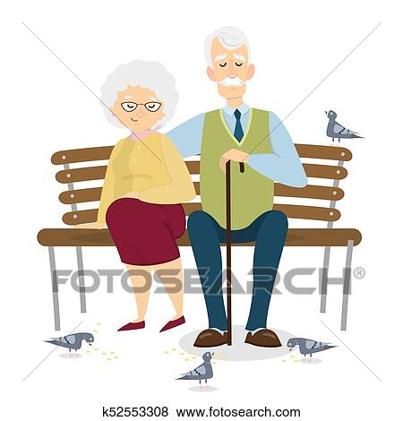 clip art of old couple sitting k52553308 search clipart rh fotosearch com old age couple clipart old couple clipart free