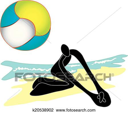 clipart of beach volleyball shadow man k20538902 search clip art rh fotosearch com beach volleyball ball clipart