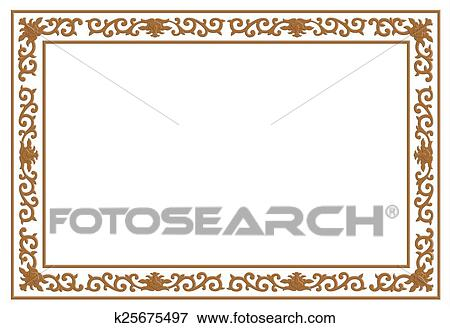 Stock Illustration Of Floral Wood Carving Border K25675497