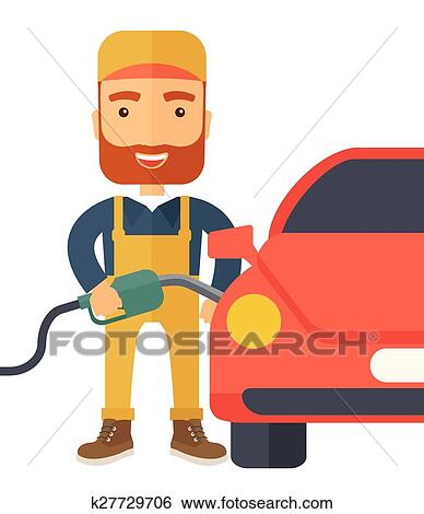 Clip Art of Gasoline boy filling up fuel. k27729706 - Search ...