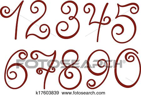 clip art of curly numbers k17603839 search clipart illustration rh fotosearch com fraction number line clip art number line clip art 1-20
