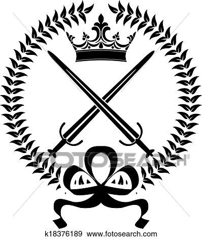 Clip Art of Royal emblem with crossed swords k18376189 - Search ...