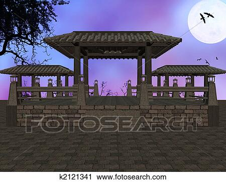 Clipart of Asian Temple Background k2121341 - Search Clip Art ...