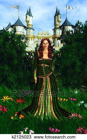 手绘图 公主, 同时,, 城堡