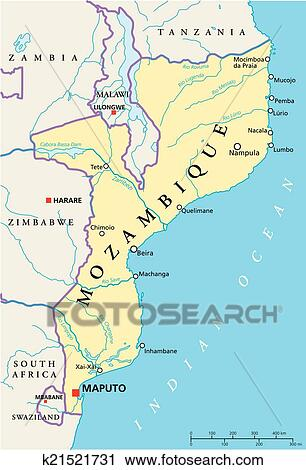 Clipart of Mozambique Political Map k21521731 Search Clip Art