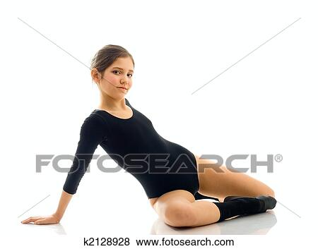 Picture   Portrait Of Cute Teen Gymnast Girl. Fotosearch   Search Stock  Photos, Images