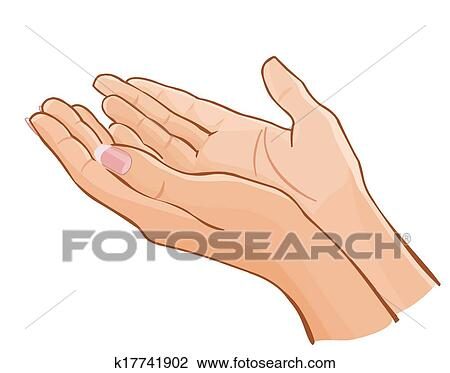 Clipart of vector female hands carefully holding something ...