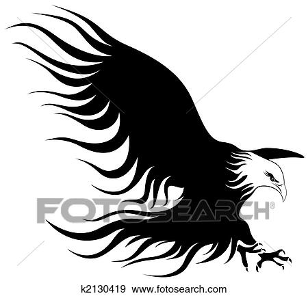 Clipart of An eagle with wings open k3401051 - Search Clip Art ...