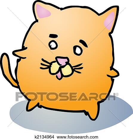 手绘图 - 肥胖的猫, 卡通漫画图片