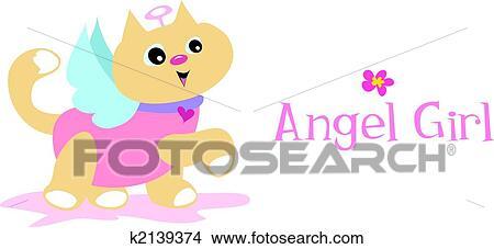 手绘图 - 天使, 女孩, 猫图片