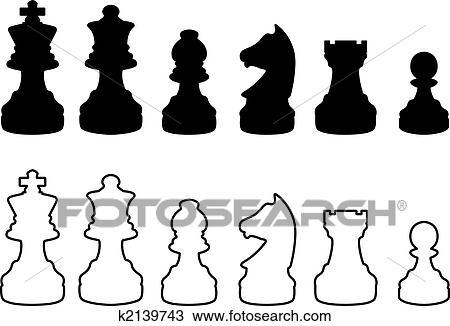 国际象棋棋子, 黑白, 侧面影象图片