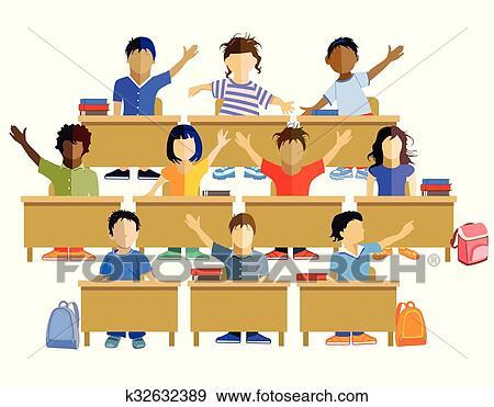 Schulklasse im unterricht clipart  Clip Art - Schulklasse.eps k32632389 - Suche Clipart, Poster ...