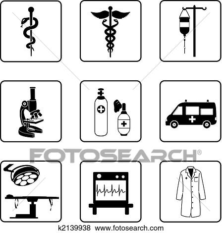 Clip Art Of Medical Symbols K2139938 Search Clipart Illustration