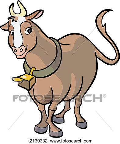 clipart of steer cartoon k2139332 search clip art illustration rh fotosearch com  cowbell clip art free