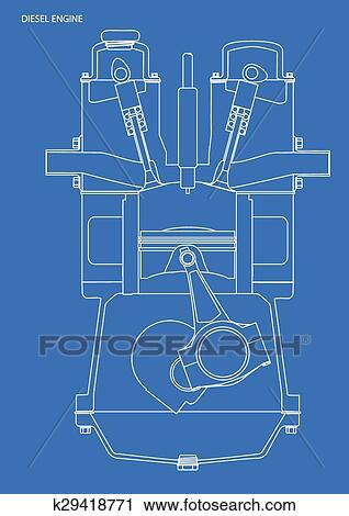 Clipart of diesel engine blueprint k29418771 search clip art a diesel engine blue print in white line on blue malvernweather Gallery